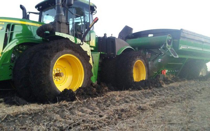 Stuck in a muddy soybean field